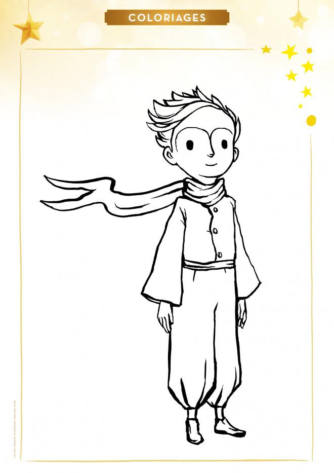 Coloriage et dessins gratuits Le petit prince porte un écharpe à imprimer