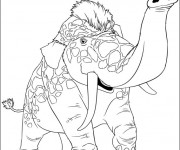 Coloriage Les croods  animal en couleur