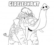 Coloriage Les croods animal Girelephant