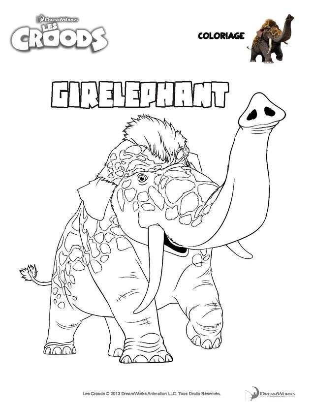 Coloriage et dessins gratuits Les croods animal Girelephant à imprimer