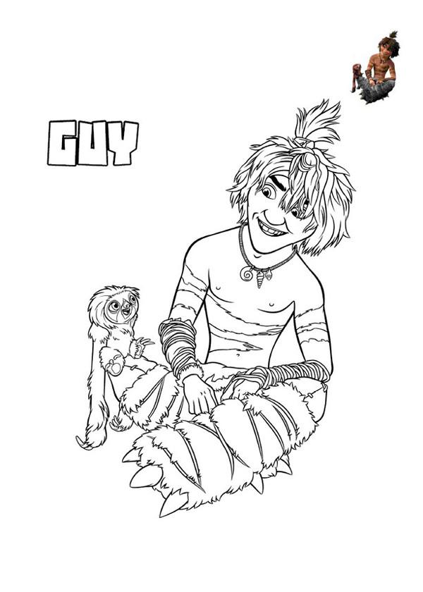 Coloriage et dessins gratuits Les croods Belt et Guy personnages à imprimer