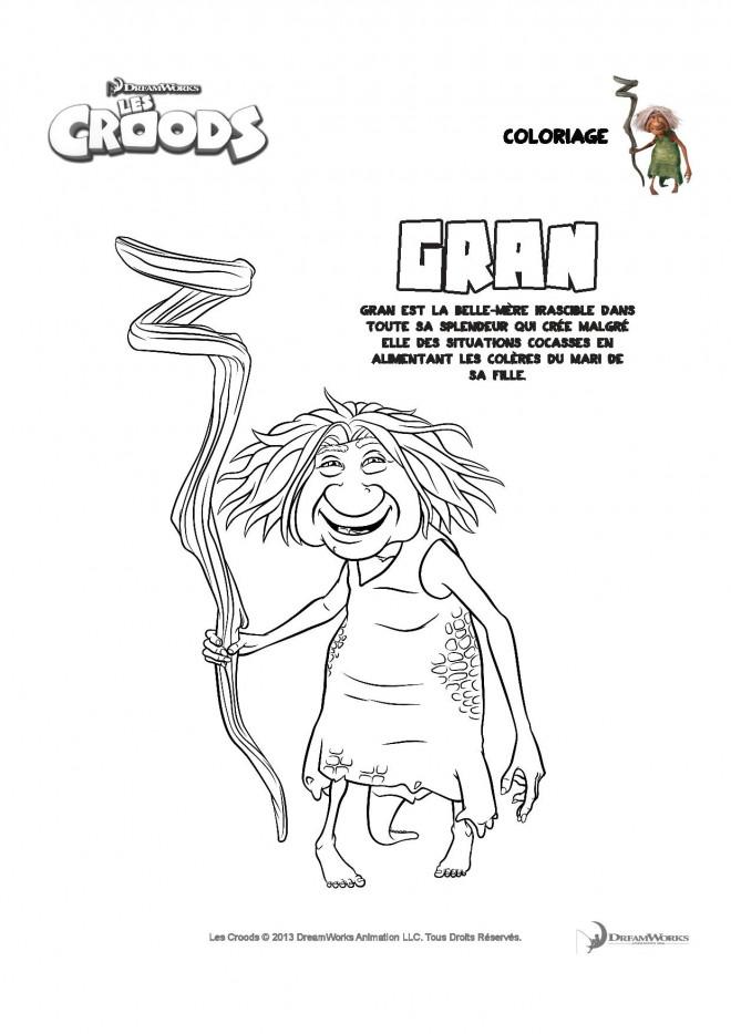 Coloriage et dessins gratuits Les croods Gran et son bâton à imprimer