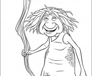 Coloriage Les croods Gran sourit