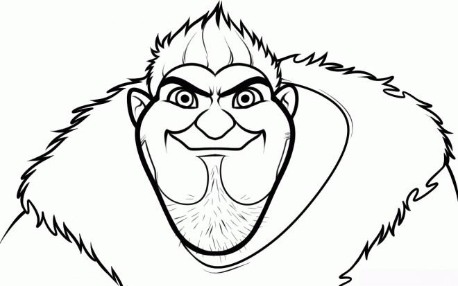 Coloriage et dessins gratuits Les croods Grug sérieux à imprimer