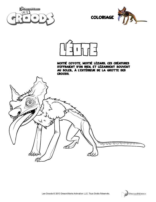 Coloriage et dessins gratuits Les croods Léote effrayé dessin à imprimer