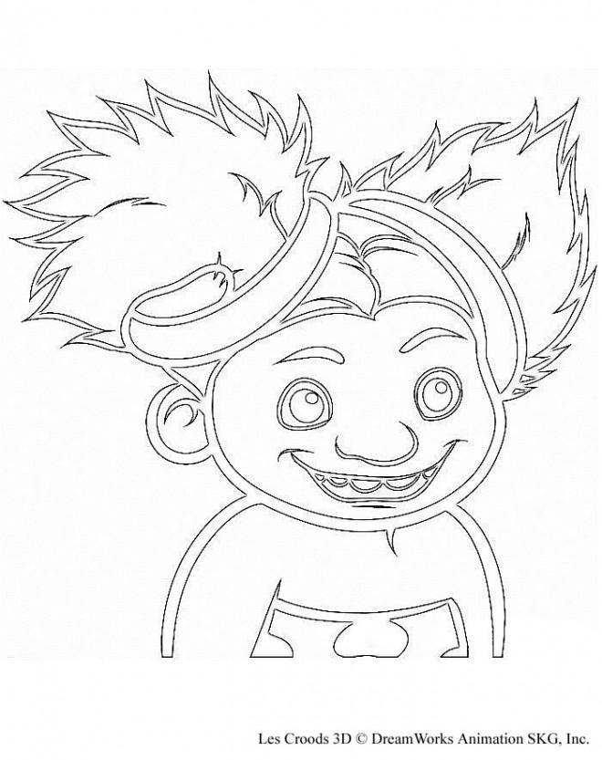 Coloriage et dessins gratuits Les croods Sandy en souriant à imprimer