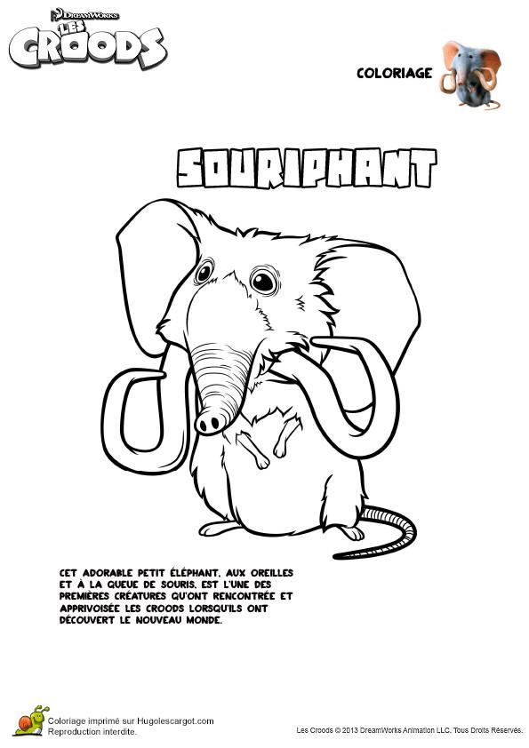 Coloriage et dessins gratuits Les croods Souriphant dessin animé à imprimer