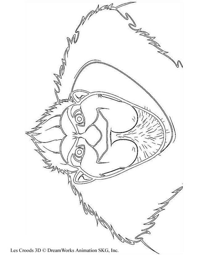 Coloriage et dessins gratuits Les croods visage de Grug à imprimer