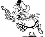 Coloriage La vieille femme porte un pistolet disney