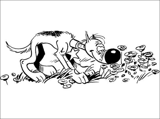 Coloriage et dessins gratuits Le chien et les fleurs en couleur à imprimer