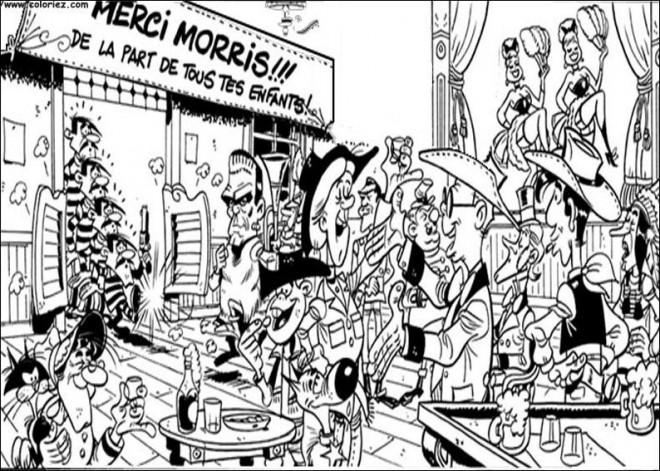 Coloriage et dessins gratuits Les Daltons dans le bar dessin animé à imprimer