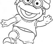 Coloriage Bébé Kermit en souriant