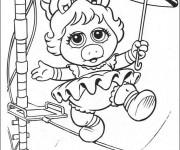 Coloriage Bébé Miss Piggy au cirque