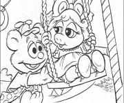 Coloriage Bébé Miss Piggy et ours s'amusent en couleur