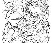 Coloriage Dessin Miss Piggy et Kermit
