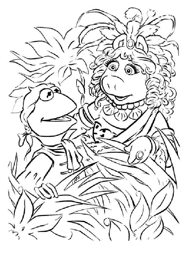 Coloriage et dessins gratuits Dessin Miss Piggy et Kermit à imprimer