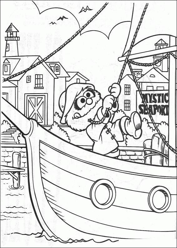 Coloriage et dessins gratuits Fozzie dans son bateau de pirates à imprimer