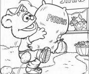 Coloriage et dessins gratuit Fozzie porte un sac de pommes de terre à imprimer