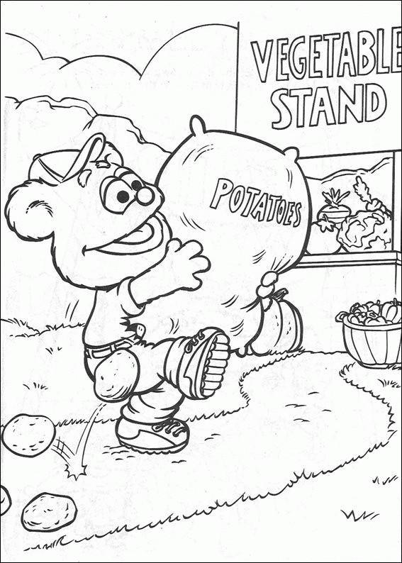 Coloriage et dessins gratuits Fozzie porte un sac de pommes de terre à imprimer