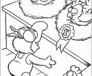 Coloriage Gonzo marionnette et ses poulets