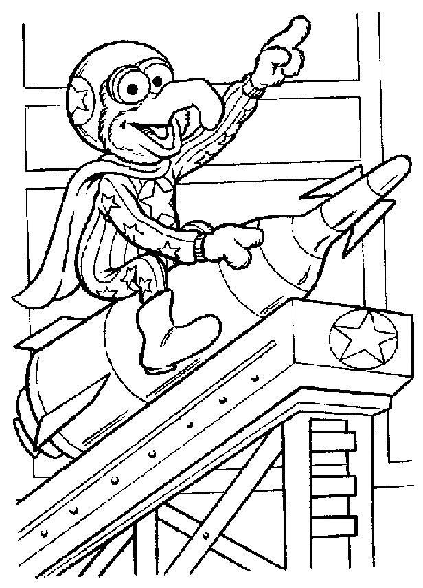 Coloriage et dessins gratuits Gonzo sur un fusil dessin pour enfant à imprimer