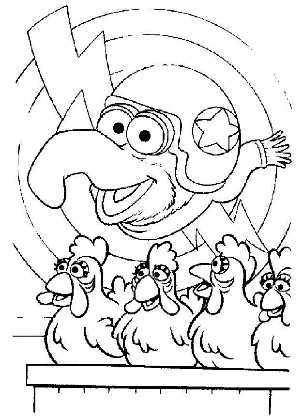 Coloriage et dessins gratuits Kermit et les poulets facile à imprimer