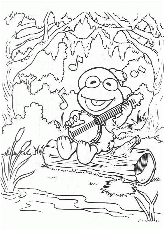 Coloriage et dessins gratuits Kermit musicien marionnette show à imprimer
