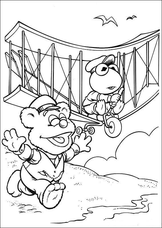 Coloriage et dessins gratuits Kermit pilote une avion ancienne en couleur à imprimer