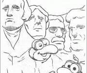 Coloriage Kermit sur Le Mont Rushmore humoristique