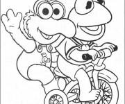 Coloriage Kermit sur son vélo