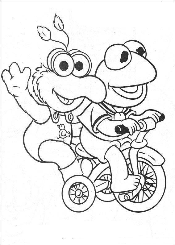 Coloriage et dessins gratuits Kermit sur son vélo à imprimer