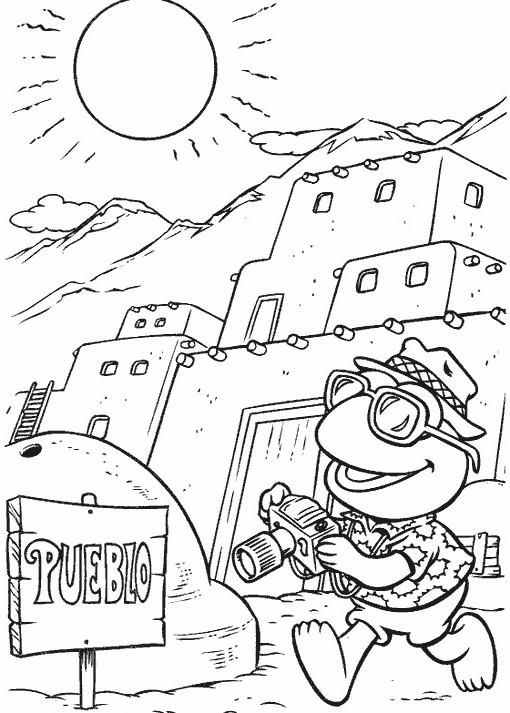 Coloriage et dessins gratuits Kermit un touriste facile à imprimer