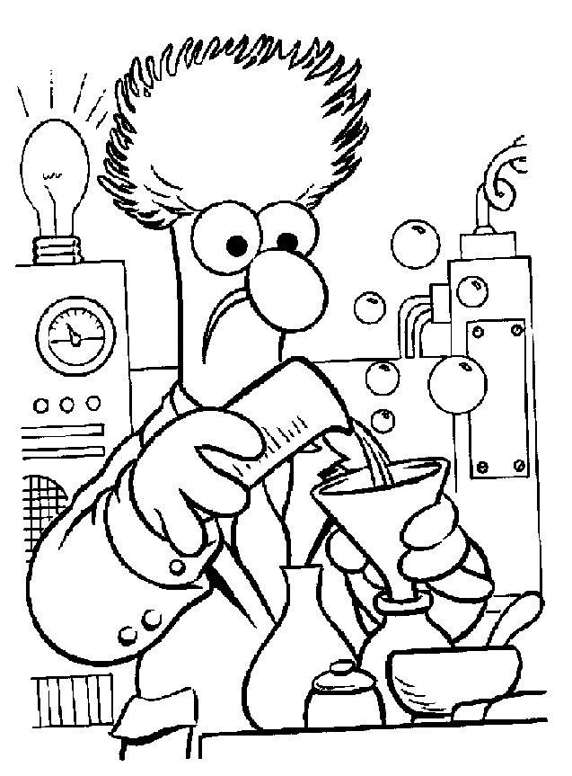 Coloriage et dessins gratuits La marionnette Beaker dans son laboratoire à imprimer
