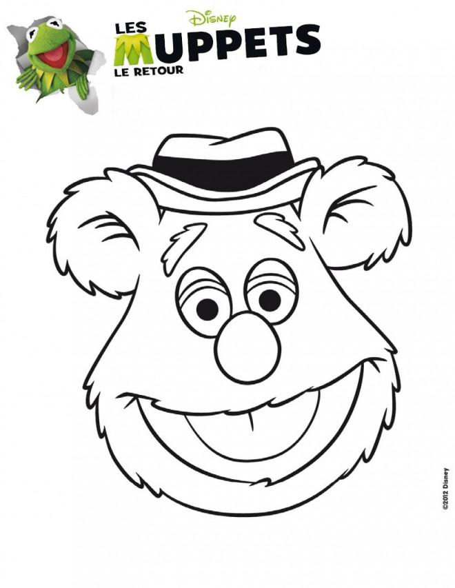 Coloriage et dessins gratuits Les Muppets Bobo l'ours à imprimer