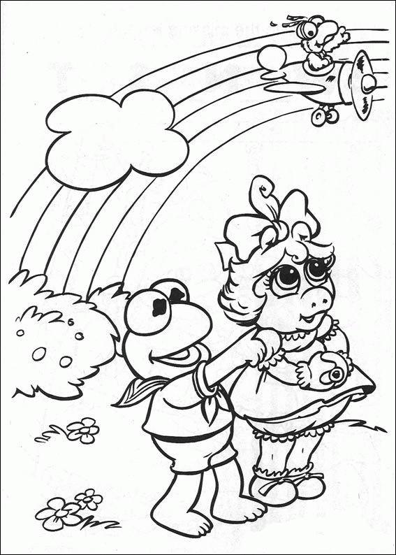 Coloriage et dessins gratuits Les Muppets et l'arc en ciel dessin facile à imprimer