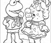 Coloriage Les Muppets mangent la glace facile