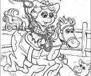Coloriage Les Muppets Miss Piggy porte les vêtements de cowboy