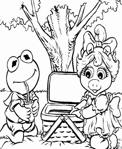 Coloriage et dessins gratuits Les Muppets passent un beau temps au jardin à imprimer