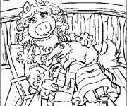 Coloriage Marionnette Miss Piggy sur un bateau