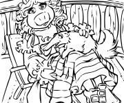Coloriage et dessins gratuit Miss Piggy et Gonzo en couleur à imprimer