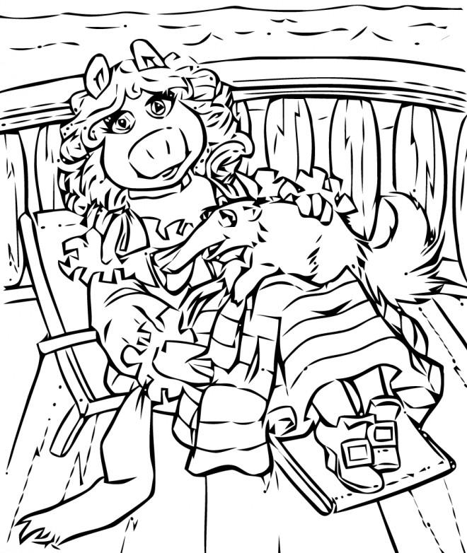 Coloriage et dessins gratuits Miss Piggy et Gonzo en couleur à imprimer