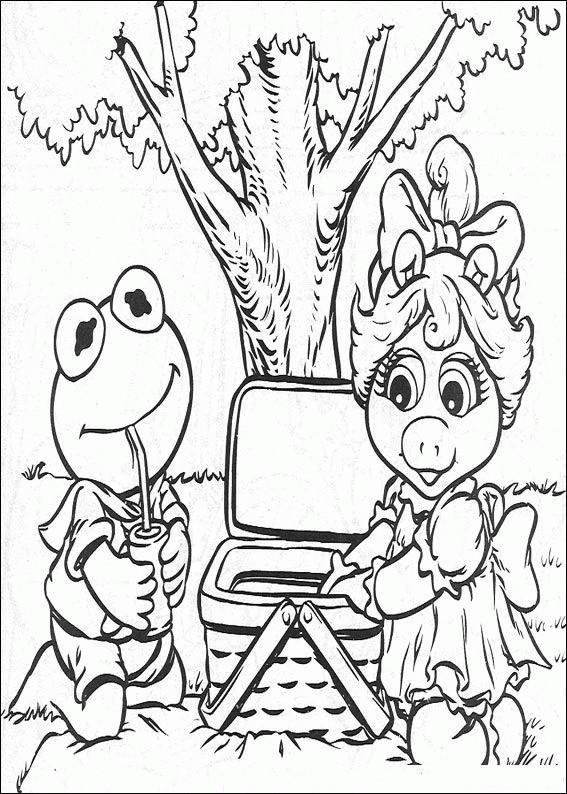 Coloriage et dessins gratuits Miss Piggy et Kermit font un pique-nique à imprimer