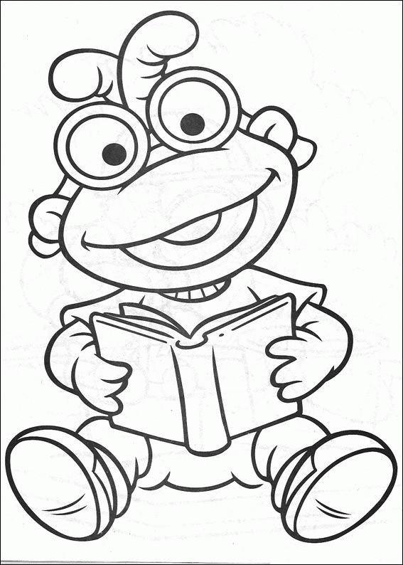 Coloriage et dessins gratuits Petit Kermit lit un livre pour enfant à imprimer
