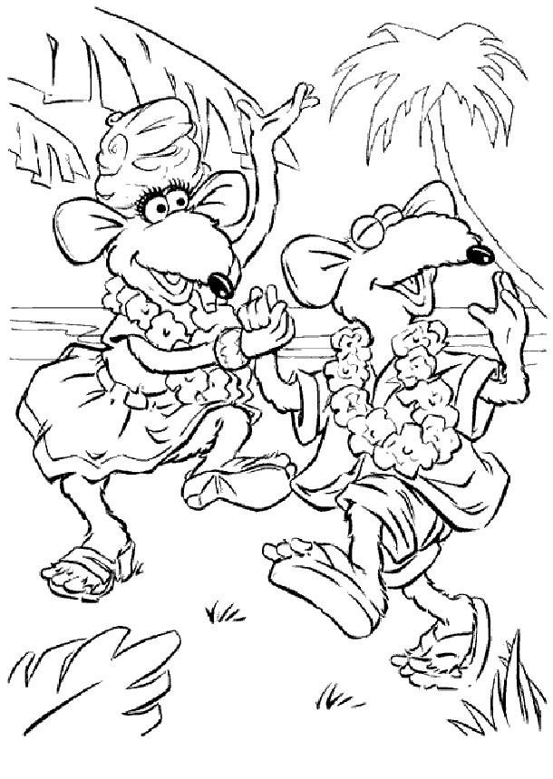 Coloriage et dessins gratuits Rizzo danse en Hawaii muppets show à imprimer
