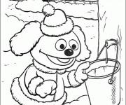 Coloriage Rowlf le chien prend un seau d'eau