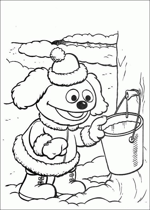 Coloriage et dessins gratuits Rowlf le chien prend un seau d'eau à imprimer