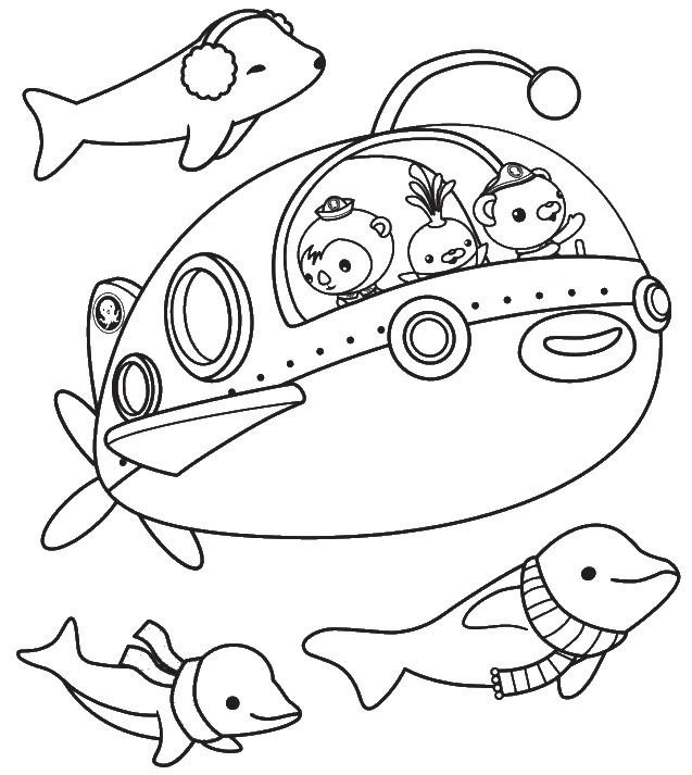 Coloriage et dessins gratuits Les Octonauts dans leur sous marin à imprimer