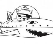 Coloriage Captain Barnacles dans un vaisseau en forme de requin
