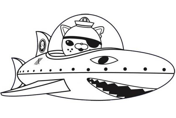 Coloriage et dessins gratuits Captain Barnacles dans un vaisseau en forme de requin à imprimer