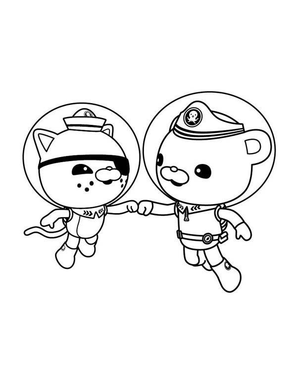 Coloriage et dessins gratuits Captain Barnacles et Kwazii serrent les mains en ligne à imprimer